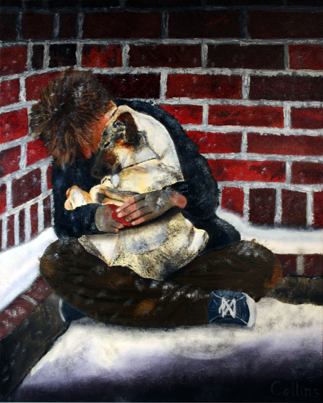008 'Homeless Man With Dog' 24x30 oil on canvas