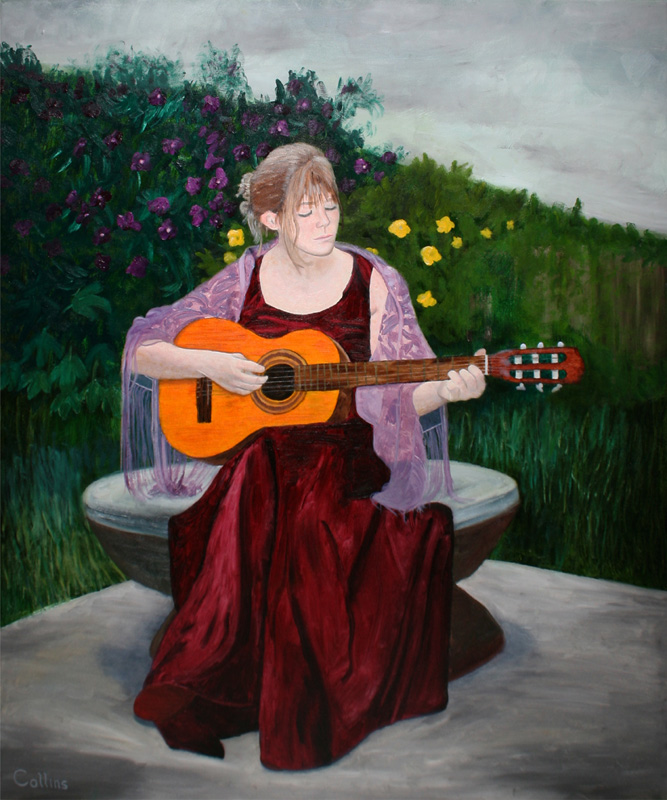 030 'Rachel With Guitar' 30x36 oil on canvas